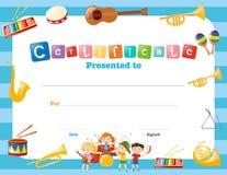 Bescheinigungsschablone mit Musikinstrumenten Lizenzfreie Stockfotos
