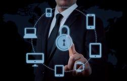 Bescherm de gegevensconcept van de wolkeninformatie Veiligheid en veiligheid van wolkengegevens Stock Afbeeldingen