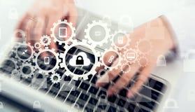 Bescherm de gegevensconcept van de wolkeninformatie Veiligheid en veiligheid van wolkengegevens Stock Afbeelding