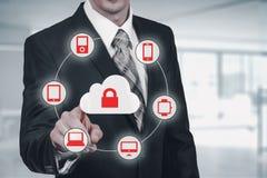 Bescherm de gegevensconcept van de wolkeninformatie Veiligheid en veiligheid van wolkengegevens Royalty-vrije Stock Fotografie