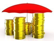 Bescherm Geld vertegenwoordigt Beschermde Investering en Bescherming royalty-vrije illustratie