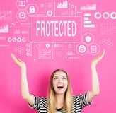 Beschermd met jonge vrouw stock foto's