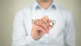 Beschermd wachtwoord, schrijvend op het transparante scherm