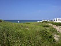 Beschermen de gras dat behandelde duinen toegang tot oceaan in distanc wordt gezien Stock Afbeeldingen