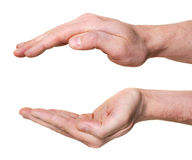 Beschermend handen die op witte achtergrond worden geïsoleerd Stock Foto's