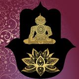 Beschermende amulet - Hamsa Boeddhisme Boedha Mooie patroonachtergrond Royalty-vrije Stock Afbeeldingen