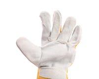 Beschermende die handschoenen, op een wit worden geïsoleerd. Binnen. Royalty-vrije Stock Foto's
