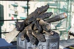 Beschermende handschoen vuile teer Royalty-vrije Stock Afbeelding