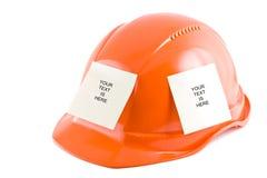 Beschermende helm en notastickers Stock Foto's