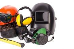 Beschermende helmen Stock Foto