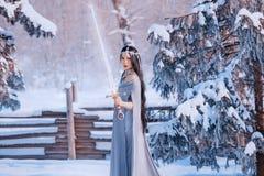 Beschermer op alarm, strijd van goed en kwaad, prachtig moedig meisje met donker lang haar in grijze warme mantel met royalty-vrije stock afbeeldingen