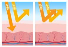 Bescherming uv-a en uv-B vector illustratie