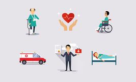 Bescherming van de gezondheid, verzekering en risico verzekerde gebeurtenissen vectorillustratie royalty-vrije illustratie
