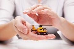 Bescherming van helikopter (concept) Stock Foto's