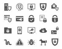 Bescherming van informatie, zwart-wit pictogrammen, Stock Afbeelding