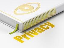 Beschermingsconcept: boekoog, Privacy op wit Royalty-vrije Stock Foto