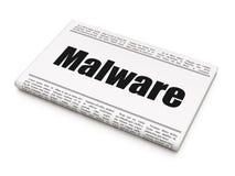 Beschermingsconcept: krantenkrantekop Malware Royalty-vrije Stock Afbeeldingen