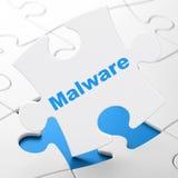 Beschermingsconcept: Malware op raadselachtergrond Royalty-vrije Stock Foto