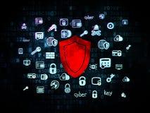 Beschermingsconcept: Schild op Digitale achtergrond Royalty-vrije Stock Afbeeldingen