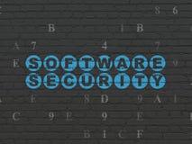 Beschermingsconcept: Softwareveiligheid op muur Stock Foto