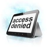 Beschermingsconcept: Toegang op de computer die van tabletpc wordt ontkend Royalty-vrije Stock Foto's