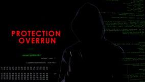 Beschermingsoverschrijding, anoniem donker mens het binnendringen in een beveiligd computersysteem smartphoneveiligheidssysteem royalty-vrije stock foto's