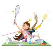 Beschäftigte Frau, die gleichzeitig viele Sachen tut Lizenzfreies Stockbild