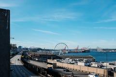 Beschäftigte Ufergegend in Seattle Washington Stockfotografie