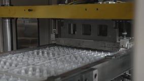 Beschikbare de waren van het voedselpakket productieinstallatie, de productielijn van de eierencontainer stock footage