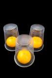 Beschikbare koppen met een mandarijn Stock Foto's