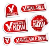 Beschikbare nu stickers. Royalty-vrije Stock Foto