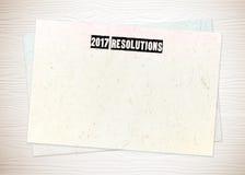 2017 Beschlüsse auf Hintergrund des leeren Papiers Lizenzfreies Stockbild