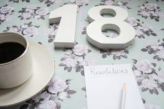 Beschlüsse und Kaffee des neuen Jahres 2018 Stockbild