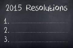 2015 Beschlüsse-Ziele für neues Jahr Stockfotografie