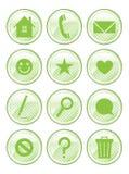 Beschmutzte grüne Aktions-Tasten Stockbilder