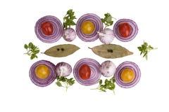 Beschneidungspfad eingeschlossen Scheiben der roten Zwiebel, Knoblauch, Tomaten, Lorbeerblätter mit Stockbild
