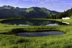 Beschneiungsspeicher lake. In the Hinterglemm Royalty Free Stock Photos