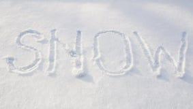 Beschreibung auf dem Schnee Stockbilder