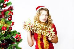 Beschreibung der frohen Weihnachten des Frauenesprits Lizenzfreie Stockfotos