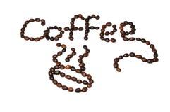 Beschreibung der Kaffeebohnen Stockbilder