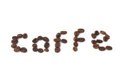 Beschreibung des Kaffees von den Kaffeebohnen Stockfotos