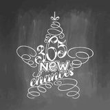 Beschriften mit 365 neues Möglichkeiten gestaltet im Sternbaumspielzeug Hand gezeichnete Kalligraphie, die inspirierend Zitate be Stockfotografie