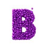 Beschriften Sie B, das von den Plastikperlen, die purpurroten Blasen gemacht wird, lokalisiert auf Weiß, 3d übertragen Lizenzfreie Stockbilder