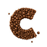Beschriften Sie C, das von den Schokoladenblasen, Milchschokoladekonzept gemacht wird, 3d übertragen Lizenzfreie Stockfotografie