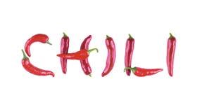Beschriften Sie C mit Pfeffer des roten Paprikas auf einem weißen Hintergrund Der Buchstabe Lizenzfreies Stockbild