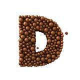 Beschriften Sie D, das von den Schokoladenblasen, Milchschokoladekonzept gemacht wird, 3d übertragen Stockfotografie
