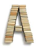 Beschriften Sie A, das von den Seitenenden von Büchern gebildet wird Lizenzfreie Stockfotografie