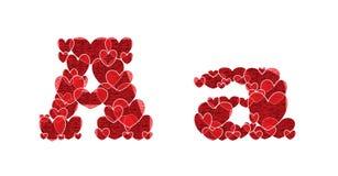 Beschriften Sie A des Alphabetes gemacht von den Herzen Lizenzfreie Stockfotos