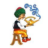 Beschriften Sie ein Fantasie-kyrillisches Alphabet - Azbuka mit Aladdin Lizenzfreie Stockfotos