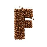 Beschriften Sie F, das von den Schokoladenblasen, Milchschokoladekonzept gemacht wird, 3d übertragen Stockbilder